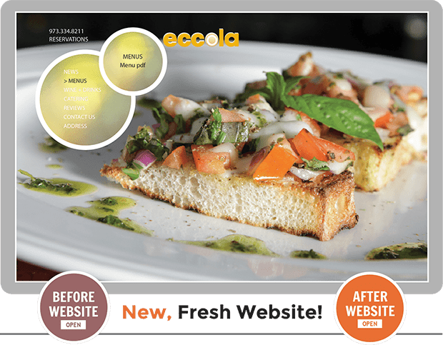 Before and After comparison study of Custom Web Design for Eccola Italian Bistro